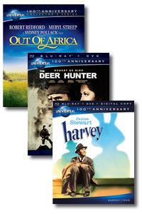 Harvey / The Deer Hunter / Out of Africa on DVD Blu-ray today