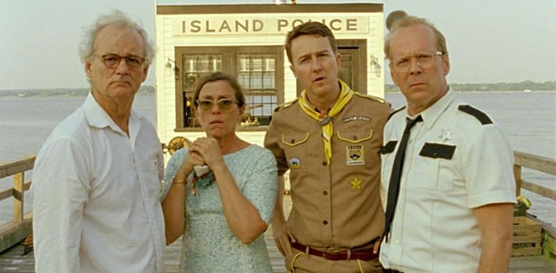 Bill Murray, Frances McDormand, Edward Norton and Bruce Willis in Moonrise Kingdom