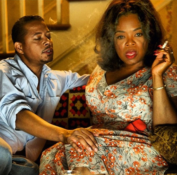 Terrence Howard and Oprah Winfrey on the set of The Butler