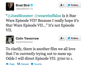 Brad Bird and Colin Trevorrow Tweets