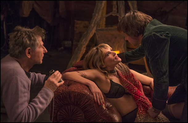 Roman Polanski, Emmanuelle Seigner and Mathieu Amalric on the set of Venus in Fur