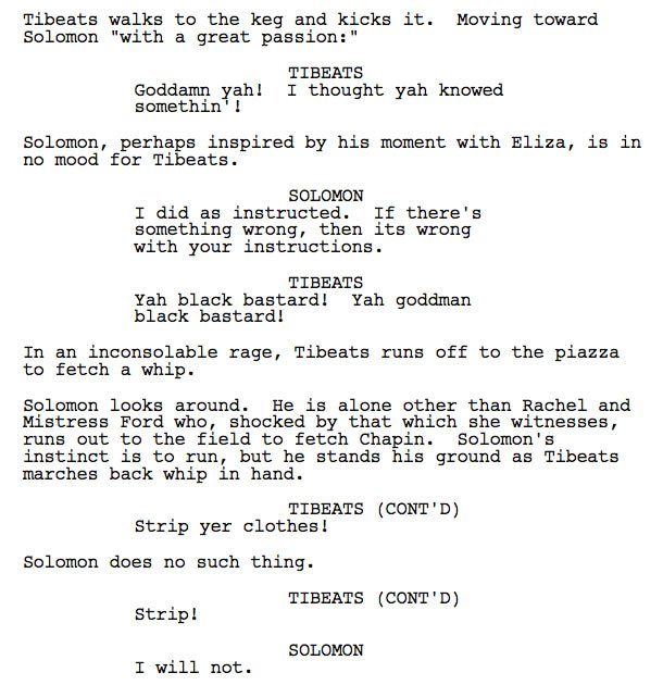 Excerpt from John Ridley's screenplay for 12 Years a Slave