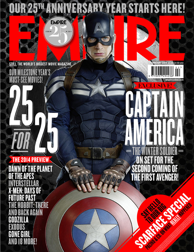 captain america the winter soldier featured on the covers of the new empire. Black Bedroom Furniture Sets. Home Design Ideas