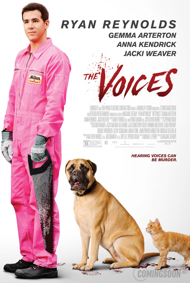 The Voices movie poster starring Ryan Reynolds