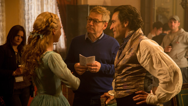 Kenneth Branagh and Lily James on the set of production for Disney's Cinderella (2015).