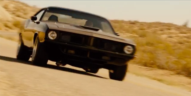 This black Plymouth Barracuda will get a lot of screen time in Furious 7, & there's speculation Dom (Vin Diesel) will be behind the wheel.