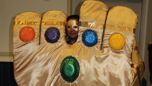 Our D23 cosplay photos even include this guy dressed as the Infinity Gauntlet!