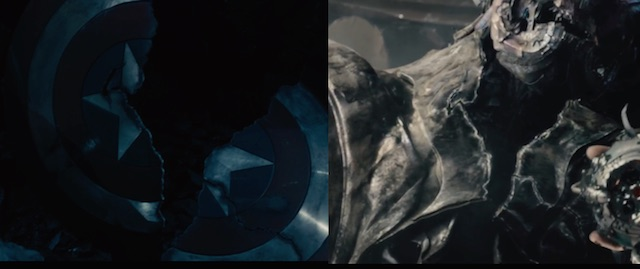 On the Age of Ultron commentary track, Joss Whedon points out the link between tear in Cap's shield and the tear in Ultron's heart.
