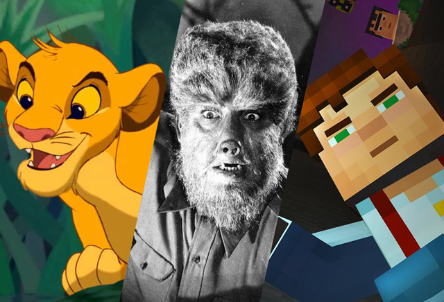 Writers Board Lion King, Wolf Man and Minecraft