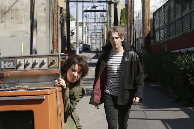 "LEGION -- ""Chapter 2"" (Airs Wednesday, February 15, 10:00 pm/ep) -- Pictured: (l-r) Aubrey Plaza as Lenny ""Cornflakes"" Busker, Dan Stevens as David Haller. CR: Michelle Faye/FX"