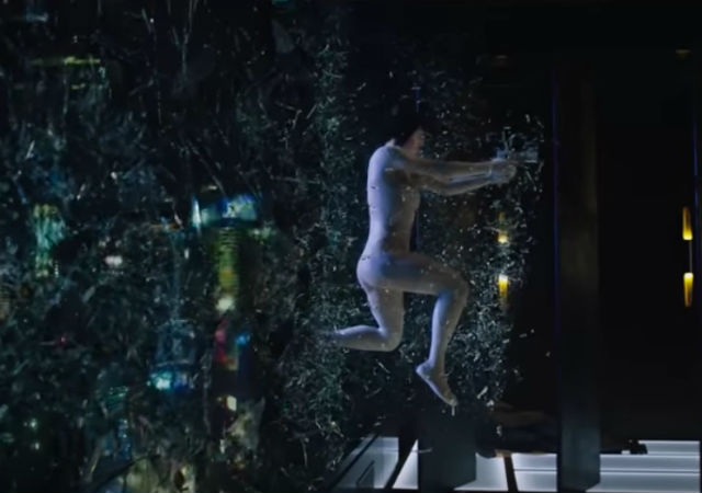 Watch the Ghost in the Shell extended clip of the building jump