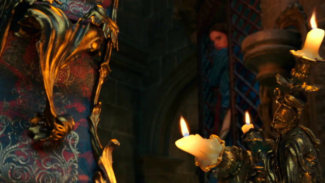 Belle Meets Lumiere And Cogsworth In New Beauty The Beast Clip