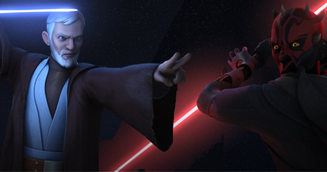 """Next week, Star Wars Rebels is bringing us Maul's revenge in """"Twin Suns""""! Get ready for the epic Jedi/Sith rematch between Darth Maul and Obi-Wan Kenobi!"""