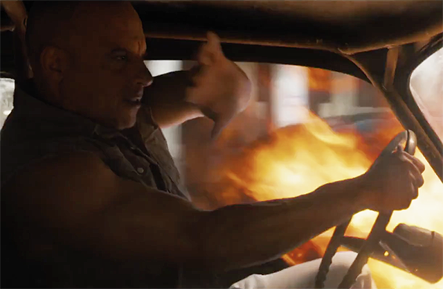 Dom Drives a Flaming Car in Fate of the Furious Clip