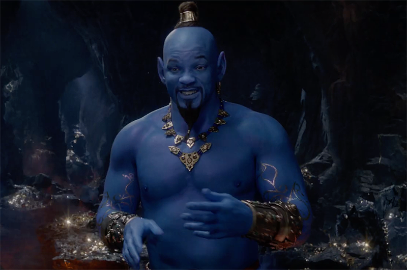 Aladdin Grammys trailer gives first look at Will Smith as blue Genie