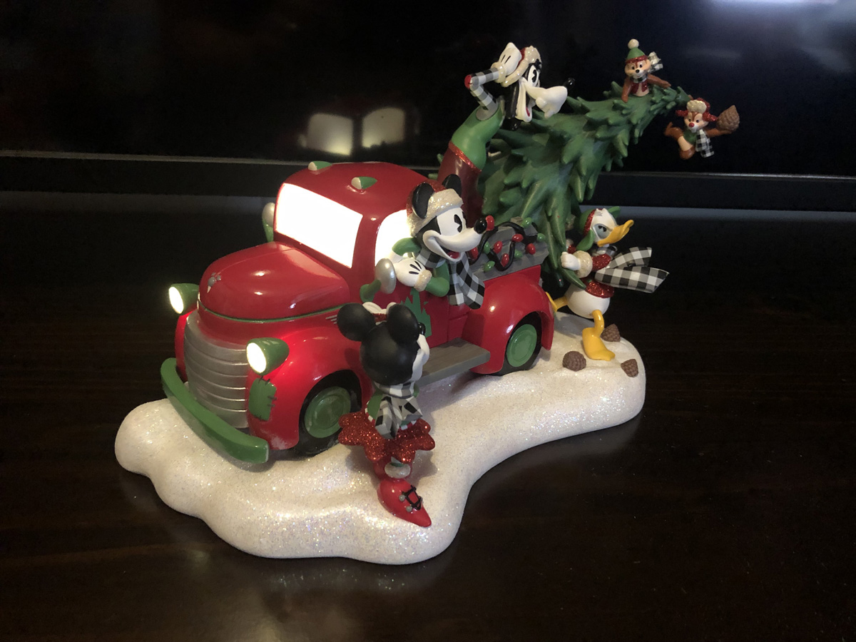 Mickey Mouse and Friends Light-Up Red Truck Holiday Figurine