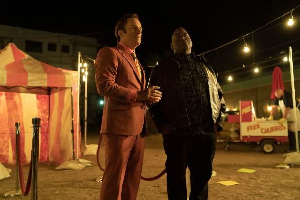 Bob Odenkirk as Jimmy McGill, Lavell Crawford as Huell Babineux - Better Call Saul _ Season 5 - Photo Credit: Warrick Page/AMC/Sony Pictures Television