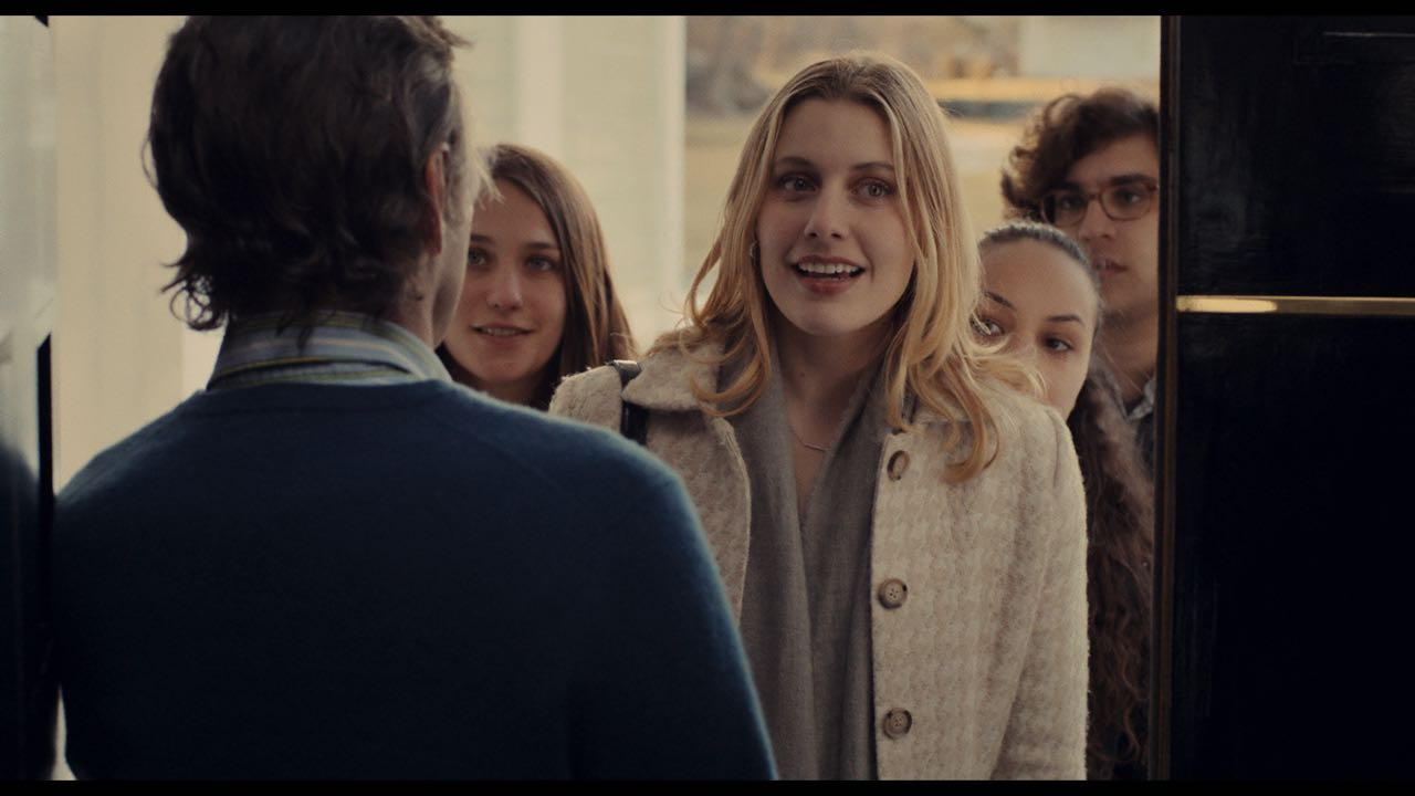 """(L-R) Lola Kirke as """"Tracy,"""" Greta Gerwig as """"Brooke,"""" Jasmine Cephas-Jones as """"Nicolette"""" and Matthew Shear as """"Tony"""" in MISTRESS AMERICA. Photo courtesy of Fox Searchlight Pictures © 2015 Twentieth Century Fox Film Corporation All Rights Reserved"""