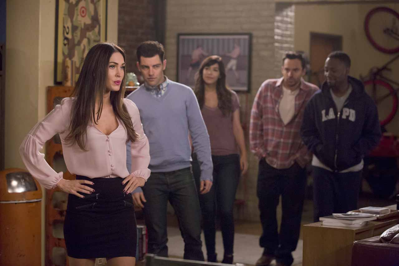 "NEW GIRL: L-R: Guest star Megan Fox, Max Greenfield, Hannah Simone, Jake Johnson and Lamorne Morris in the ""Reagan"" episode of NEW GIRL airing Tuesday, Feb. 9 (8:00-8:30 PM ET/PT) on FOX. ©2016 Fox Broadcasting Co. Cr: Ray Mickshaw/FOX"