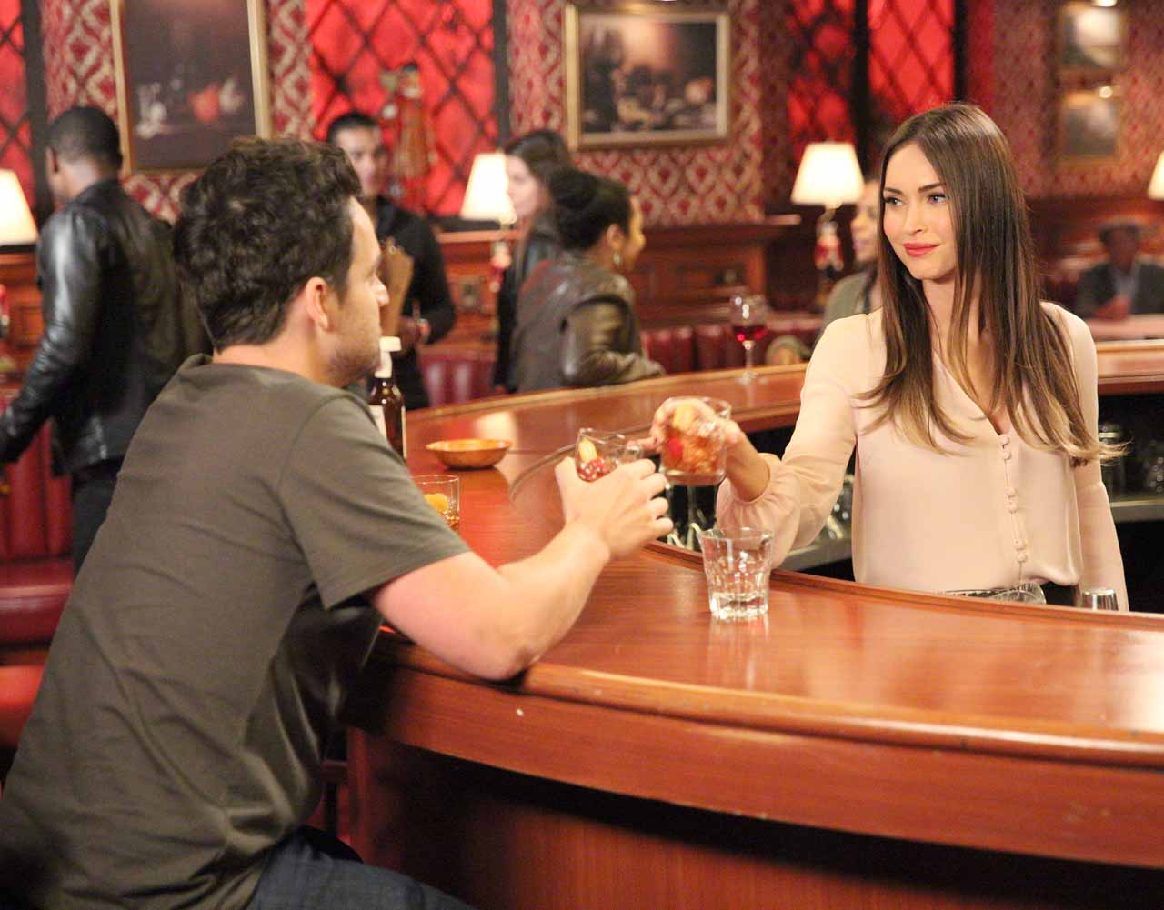 "NEW GIRL: L-R: Jake Johnson and guest star Megan Fox in the ""Reagan"" episode of NEW GIRL airing Tuesday, Feb. 9 (8:00-8:30 PM ET/PT) on FOX. ©2016 Fox Broadcasting Co. Cr: Ray Mickshaw/FOX"