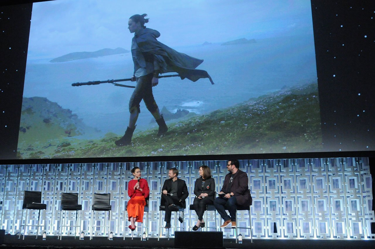 ORLANDO, FL - APRIL 14: Daisy Ridley, Rian Johnson, Kathleen Kennedy and Josh Gad attend the STAR WARS: THE LAST JEDI PANEL during the 2017 STAR WARS CELEBRATION at Orange County Convention Center on April 14, 2017 in Orlando, Florida.  (Photo by Gerardo Mora/Getty Images for Disney) *** Local Caption *** Daisy Ridley;Rian Johnson;Kathleen Kennedy;Josh Gad