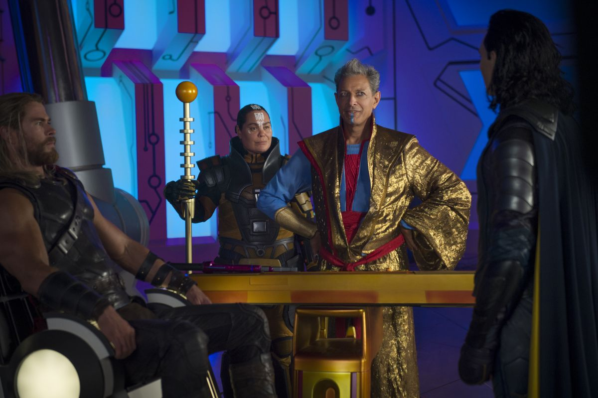 Marvel Studios Thor: RagnarokL to R: Thor (Chris Hemsworth), Topaz (Rachel House), Grandmaster (Jeff Goldblum) and Loki (Tom Hiddleston)Photo: Jasin Boland©Marvel Studios 2017