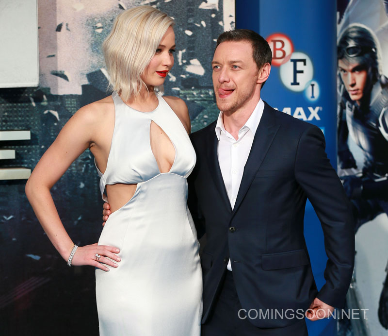 The UK premiere and fan screening of 'X-Men: Apocalypse' at the BFI IMAX - Arrivals Featuring: Jennifer Lawrence, James McAvoy Where: London, United Kingdom When: 10 May 2016 Credit: WENN.com